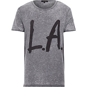 Grey burnout LA print t-shirt