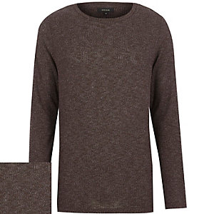 Brown ribbed curved hem long sleeve top