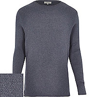 Blue textured jumper