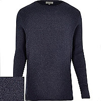 Blue blue textured jumper
