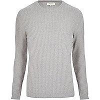 Light grey ribbed jumper