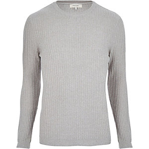 Light grey ribbed jumper
