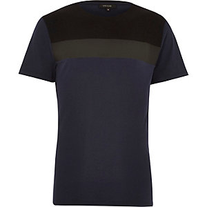 Navy colour block short sleeve t-shirt