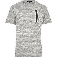 Grey space dye zip pocket t-shirt