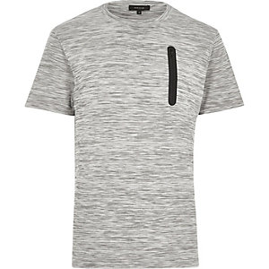 Grey space dye zip pocket t-shirt