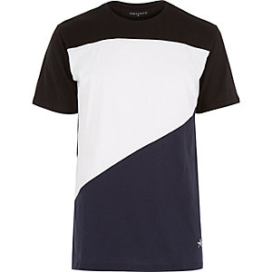 Navy Antioch asymmetric panel t-shirt