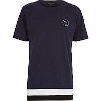 Black Antioch longer length stripe t-shirt