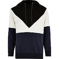 Navy Antioch asymmetric panel hoodie