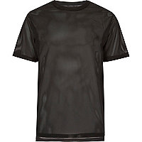 Black mesh stepped hem t-shirt