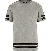 Grey stripe stepped hem t-shirt