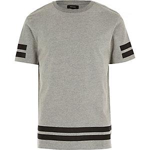 Grey stripe stepped hem t-shirt