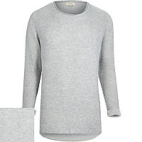 Light grey ribbed curved hem jumper