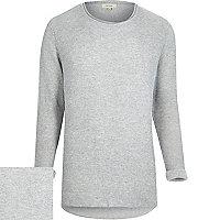 Light grey ribbed curved hem jumper