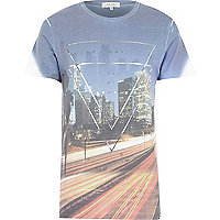 Blue LA city triangle print t-shirt