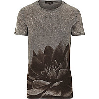 Grey burnout flower print t-shirt