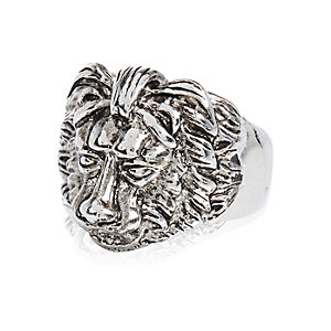 Silver tone lion ring