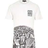 White East Coast city fade print t-shirt