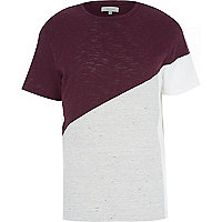 Red asymmetric colour block t-shirt