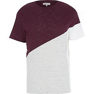 Red colour block t-shirt