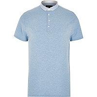 Blue marl polka dot collar shirt