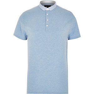 Blue marl polka dot collar shirt