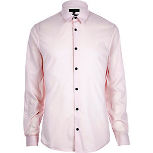 Pink stretch long sleeve shirt