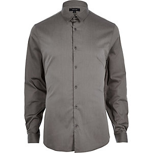 Grey stretch long sleeve shirt