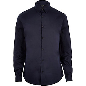Navy blue stretch long sleeve shirt