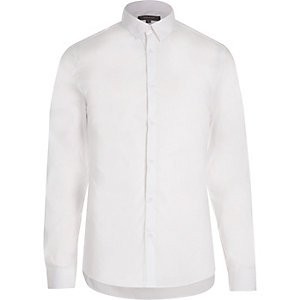 White stretch long sleeve shirt