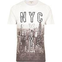 White NYC faded city print t-shirt
