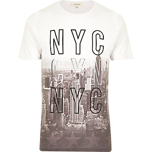 White NYC faded city print t-shirt