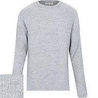 Light grey cotton ribbed long sleeve jumper