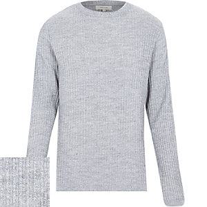Light grey ribbed long sleeve jumper
