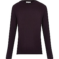 Dark red cotton ribbed long sleeve jumper