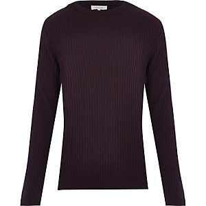 Dark red ribbed long sleeve sweater