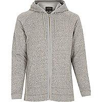 Grey heavyweight cotton zip hoodie