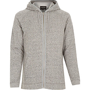 Grey heavyweight cotton zip hoodie
