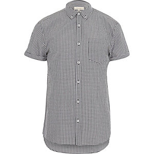 Black micro gingham short sleeve shirt