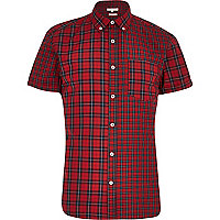 Red mixed check short sleeve shirt