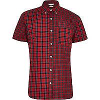 Red mixed check short sleeve shirt