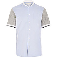 Blue short sleeve baseball shirt