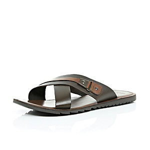 Brown leather cross over sandals
