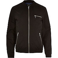 Black zip pockets bomber jacket