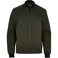 Dark green casual contrast neck bomber jacket