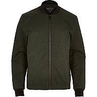 Dark green casual contrast neck bomber jacket