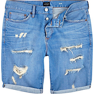 Light wash dipped slim denim shorts