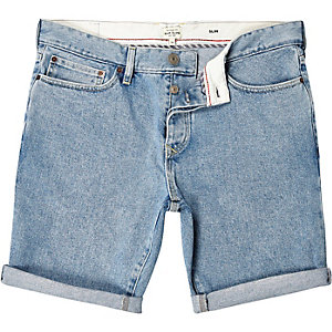 Light wash slim denim shorts