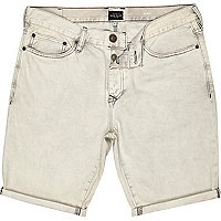 Grey denim turn up slim shorts