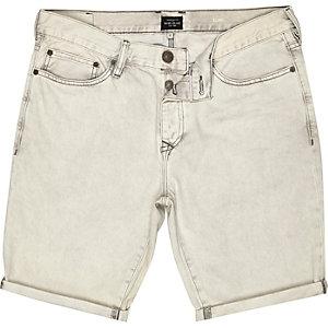 Grey denim turn up slim shorts