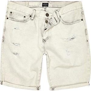 Grey ripped denim shorts